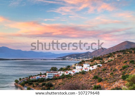 Amazing sunset at Mirabello Bay on Crete, Greece - stock photo