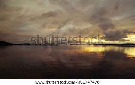 amazing sunset, beautiful sky - stock photo