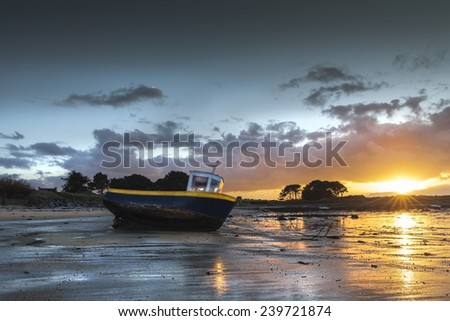 Amazing sunset colors in France, near the atlantic ocean - stock photo