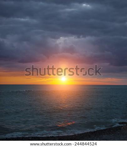 Amazing sunset in Blacksea region of Turkey - stock photo