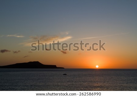 Amazing sunset in the Galapagos Islands, taken from a cruise ship, Ecuador - stock photo
