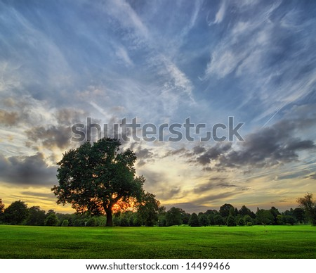 amazing sunset on a golf-course in Derby, United Kingdom, England - stock photo
