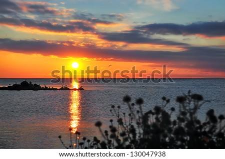 amazing sunset on the Black Sea - stock photo