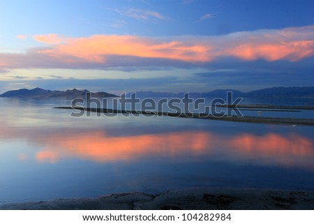 Amazing sunset on the Great Salt Lake, Utah. - stock photo