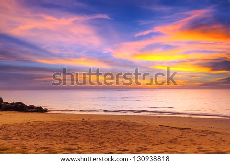 Amazing sunset over Andaman Sea in Thailand - stock photo