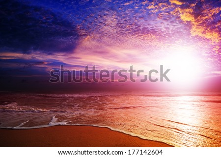 Amazing sunset over the beach. HDR processed. - stock photo