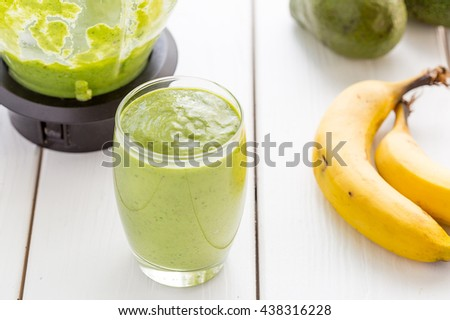 Amazing Tasty Green Avocado Shake or Smoothie, Made with Fresh Avocados, Banana, Lemon Juice and Non Dairy Milk on Light White Wooden Background, Raw Food, Vegan Drink Conception, Horizontal View - stock photo