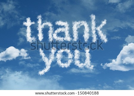 Amazing Thank You text on clouds - stock photo