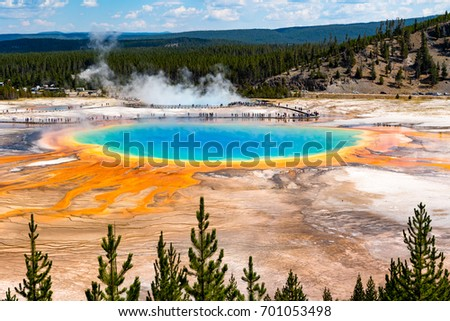 Amazing thermal feature Grand Prismatic Spring at Yellowstone National Park at the end of summer