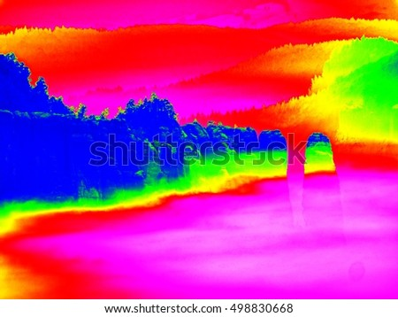 Amazing thermography photo. Spring misty landscape. Morning in beautiful hills of natural park.