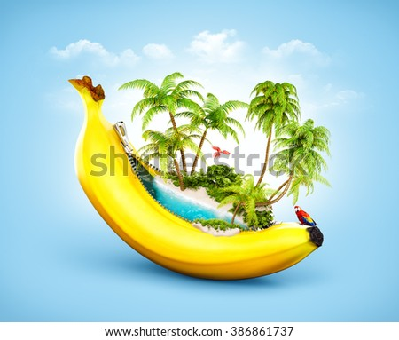 Amazing tropical beach with palms inside banana. Unusual travel illustrtion