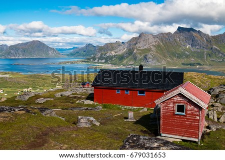Amazing view and landscape during summer in Lofoten, Norway