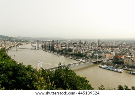 amazing  view at cityscape and river and bridges in the morning light in Budapest city, travel concept, space for text
