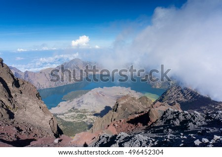 Amazing view from the top of Mount Rinjani, Lombok Indonesia