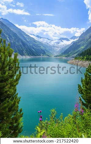 Amazing view of Alpine lake Schlegeis in the valley Zillertal, Austrian Alps - stock photo