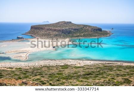 Amazing view of Balos lagoon, Crete, Greece - stock photo