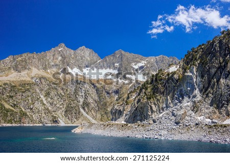 Amazing view of barrage Cap de Long in french Pyrenees  - stock photo