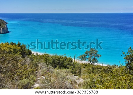 Amazing view of Blue Waters of Milos Beach, Lefkada, Ionian Islands, Greece - stock photo