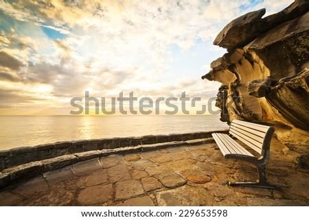 amazing view of Bondi beach and tasman sea  - stock photo