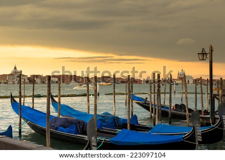 Amazing view of Grand Canal at sunset with San Giorgio Maggiore church. San Marco, Venice, Italy, Europe. Beauty world. Retro style. Instagram toning effect. - stock photo
