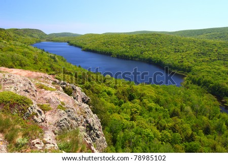 Amazing view of Lake of the Clouds at Porcupine Mountains State Park in northern Michigan - stock photo