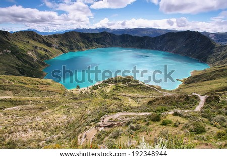 Amazing view of  lake of the Quilotoa caldera. Quilotoa is the western volcano in Andes range and is located in andean region of Ecuador. - stock photo