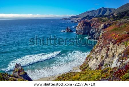 Amazing view of Pacific coast, California. - stock photo