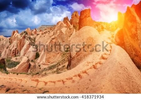 Amazing view of red rose valley in Cappadocia, Turkey - stock photo