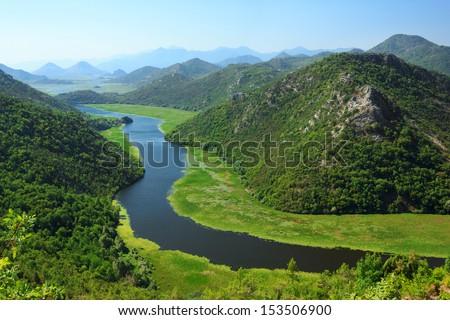 Amazing view of Rijeka Crnojevica. Skadar lake national park, Montenegro - stock photo