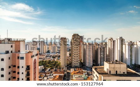 Amazing view of Sao Paulo City , Brazil - stock photo