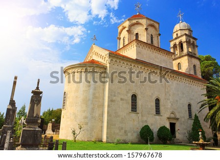 Amazing view of Savina monastery in Herceg Novi, Montenegro - stock photo