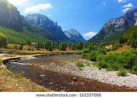 Amazing view of spring in Ropojana valley, Prokletije national park, Montenegro  - stock photo