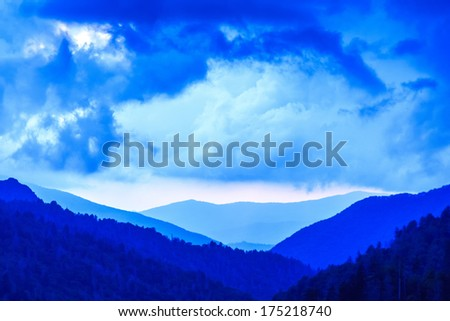 Amazing view of the blue layers of the Great Smoky Mountains - stock photo