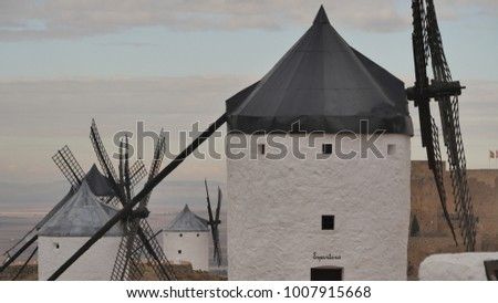 Amazing view of the famous windmill of Consuegra in Spain - Castilla la Mancha
