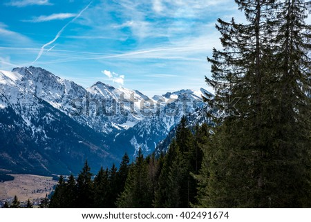 Amazing view of the German Alps - stock photo