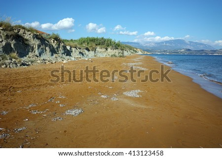 amazing view of Xi Beach,beach with red sand in Kefalonia, Ionian islands, Greece - stock photo