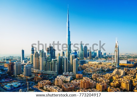 Amazing view on Dubai downtown skyscrapers, Dubai, United Arab Emirates