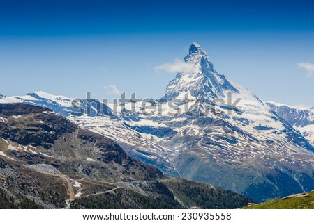 Amazing view on Matterhorn - famous mount in Swiss Alps
