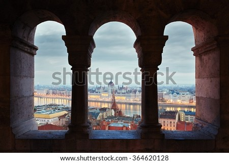 Amazing view on Parliament form Fisherman's Bastion - Hungary - stock photo