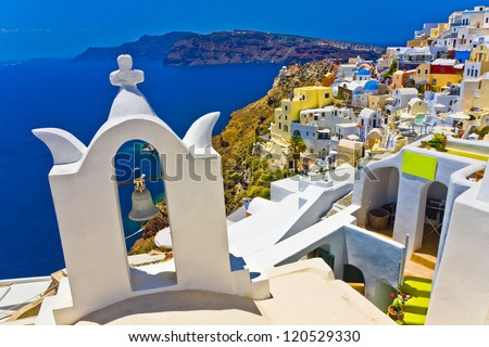 Amazing view on Santorini - stock photo