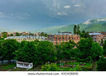 Amazing view on Vanadzor after the rain, Armenia - stock photo