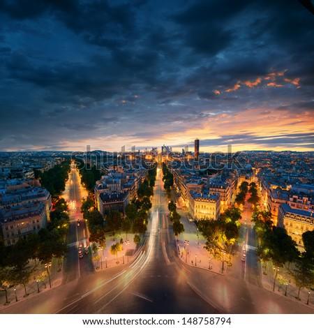 Amazing view to night Paris - stock photo