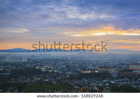 Amazing view to top view at sunrise - stock photo