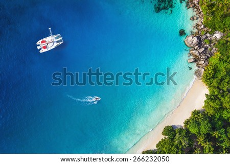 Amazing view to Yacht in bay with beach - Drone view. Birds eye angle - stock photo