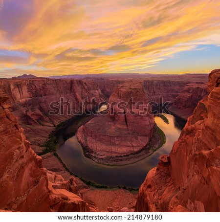 Amazing Vista of Horseshoe Bend in Page, Arizona - stock photo