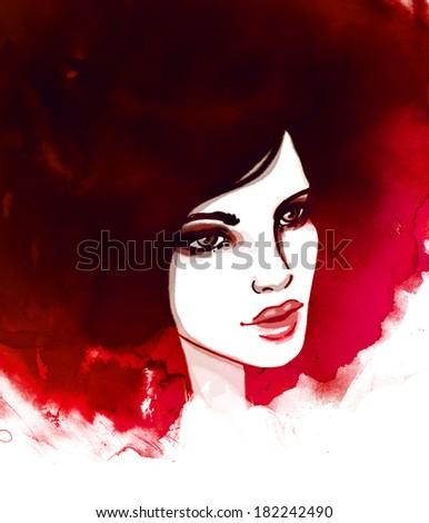 Amazing watercolor portrait of beautiful women. Fashion illustration.  - stock photo