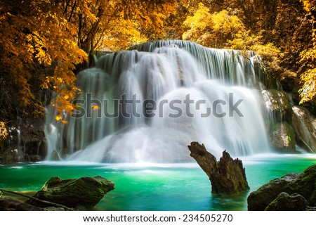 Amazing waterfall in beautiful forest  - stock photo