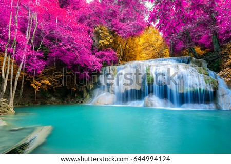 Waterfall Autumn Forest Erawan National Park Stock Photo ... - photo#15