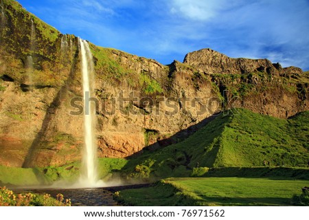 amazing waterfall in Iceland - stock photo