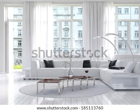 Amazing white loft living room interior - stock photo